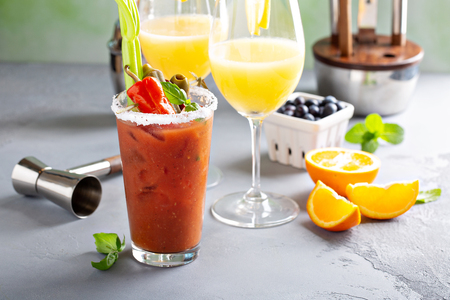 Brunch cocktails with mimosas and bloody mary