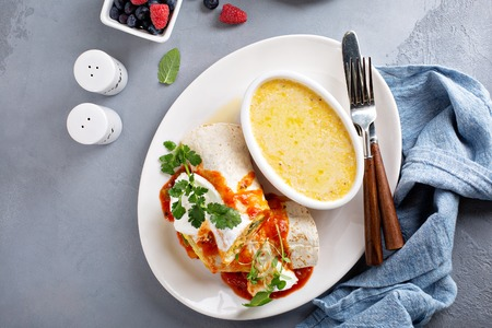 Breakfast egg burrito with grits