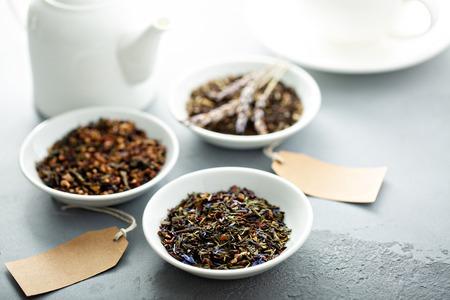 Assorted variety of loose leaf teas Stok Fotoğraf