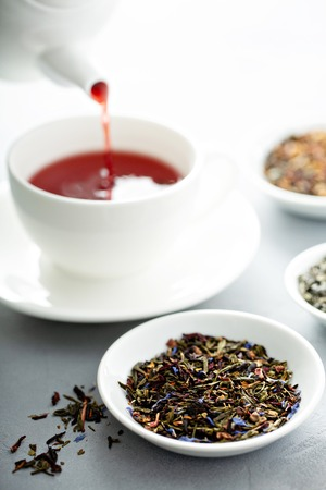 Floral loose leaf green tea and hibiscus