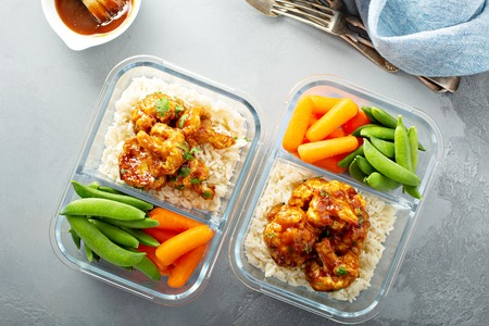 Vegan meal prep with bbq cauliflower Stock Photo
