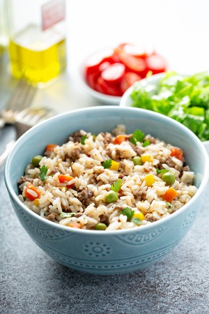 Rice with vegetables and beef Stock Photo