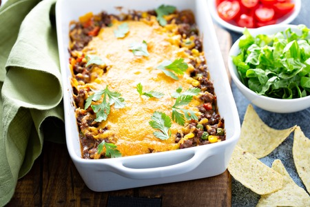 Traditional mexican meat casserole
