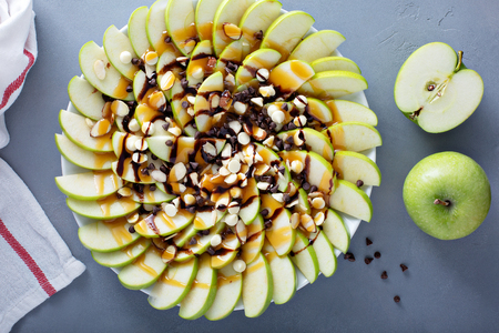 White and dark chocolate chip apple nachos