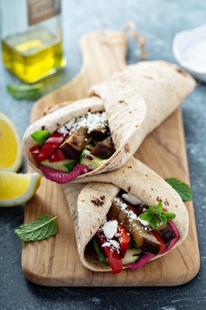 Grilled vegetables and hummus wraps