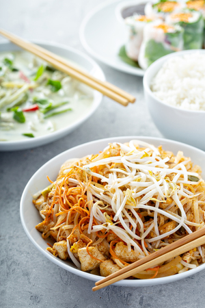 Pad Thai noodles with chicken Stock Photo