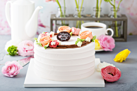 Mothers day cake with flowers Stock Photo