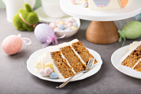 Easter cake with sugar cookies decor Stock Photo