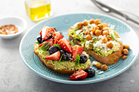 Healthy avocado toast duo Stock Photo