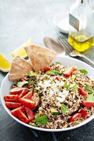 Grilled vegetables and quinoa salad with feta cheese