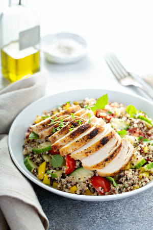 Fresh quinoa tabbouleh salad with grilled chicken