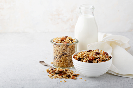 Homemade granola with coconut and almonds