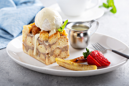 Warm apple bread pudding with ice cream