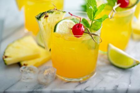 Refreshing summer pineapple rum cocktail 写真素材
