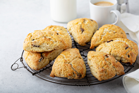 Homemade chocolate chip scones Stock Photo