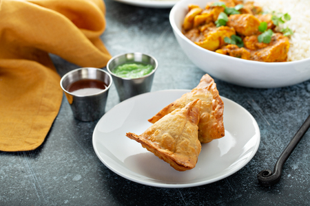 Indian samosas with vegetable filling Reklamní fotografie - 122995699