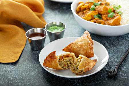 Indian samosas with vegetable filling