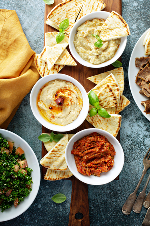 Mezze board with pita and dips 스톡 콘텐츠