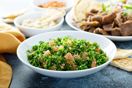 Parsley tabbouleh with tomato and cous cous