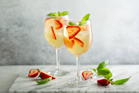 Summer white sangria with strawberries