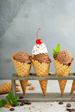 Chocolate ice cream in waffle cones