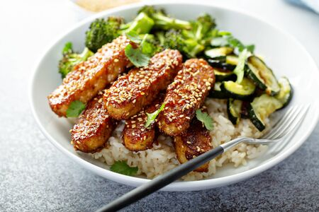 Teryaki tempeh with rice and vegetables Stock Photo - 127690707
