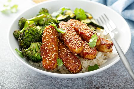 Teryaki tempeh with rice and vegetables 版權商用圖片 - 127690708
