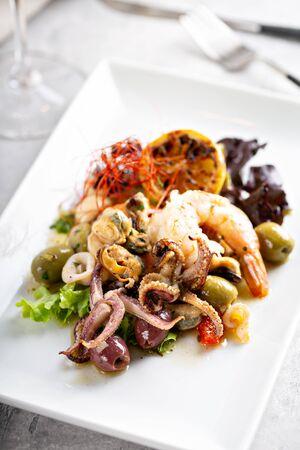 Seafood octopus salad Stock Photo