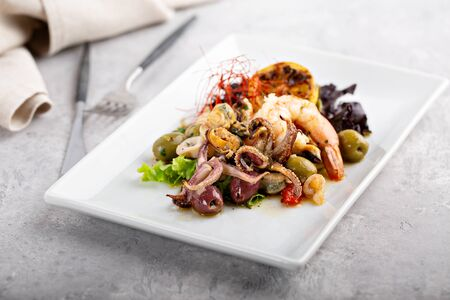 Seafood octopus salad Stock Photo