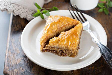 Baklava dessert on a plate Stok Fotoğraf