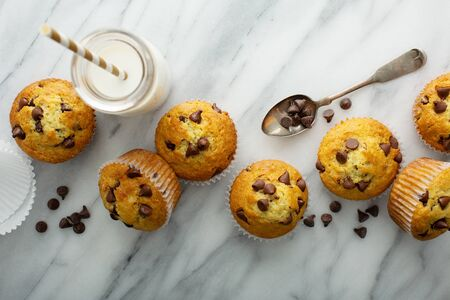 Chocolate chip muffins with milk