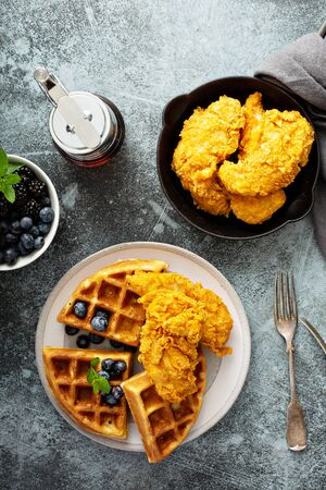 Waffles with fried chicken Stok Fotoğraf