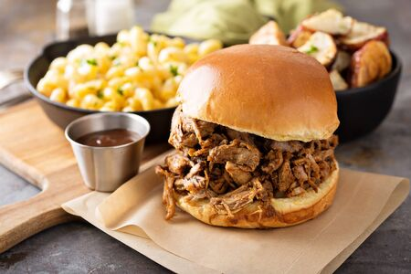 Pulled pork sandwich Stockfoto