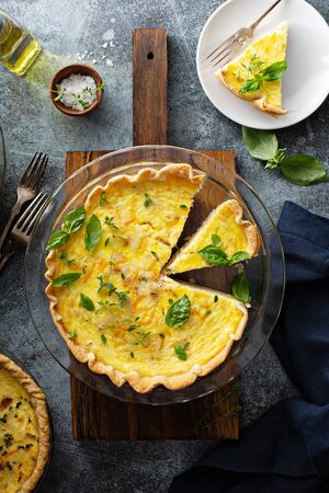 Quiche Lorraine with ham and cheese