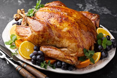Whole roasted turkey for Thanksgiving Stok Fotoğraf - 129626888