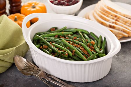 Green beans on Thanksgiving or Christmas table