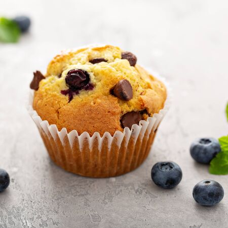 Chocolate chip and blueberry muffins Banco de Imagens