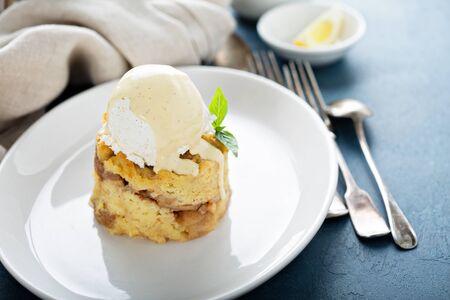 Apple bread pudding with ice cream