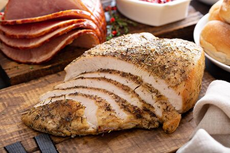 Sliced turkey on Thanksgiving or Christmas table Stock Photo