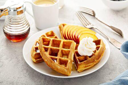 Peach waffles for breakfast