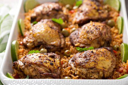 Arroz con pollo in a baking dish