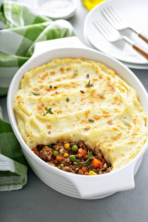 Shepherds pie with beef in a baking dish