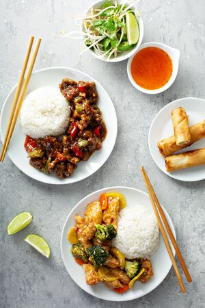Chinese food on the table Banco de Imagens
