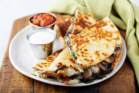 Mushroom and cheese quesadillas