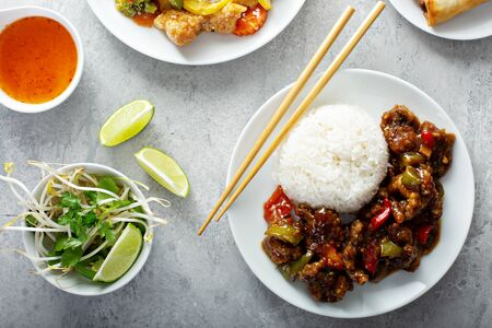 Sticky sweet beef with white rice