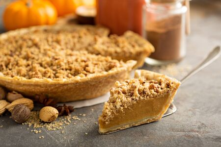 Traditional pumpkin pie with crumb topping