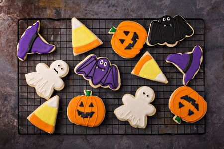 Halloween cookies on a cooling rack