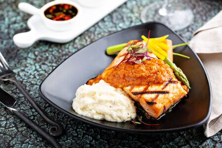 Asian inspired grilled salmon with vegetables and mashed cauliflower