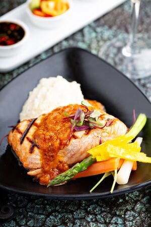 Asian inspired grilled salmon