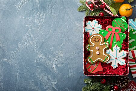 Christmas sugar and gingerbread cookies decorated with royal icing in a box or tin